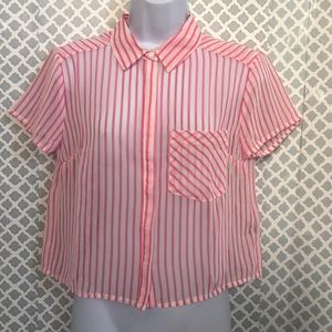 🌞NWT Timing hot pink sheer striped button down